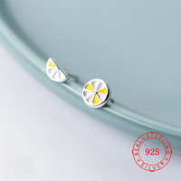 New Round 925 Sterling Silver Fruit Yellow Lemon Stud Earrin...