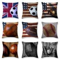 9 أنماط كرة البيسبول وسادة القضية وسادة تغطي خمر العلم مخدة القدم مطبوعة أريكة وسادة غطاء ديكور المنزل FFA2025