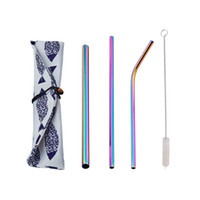 4pcs Set Reusable Metal Drinking Straws Kit With Cleaning Br...