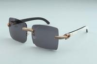 2020 neue große quadratische Sonnenbrille voller Diamant-Brille T3524012-1 Luxus Boundless Natural Black Textured Horn-Rahmen