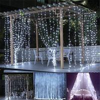LED نافذة ستارة أضواء 144 المصابيح الستار جليد سلسلة أضواء ل حفل زفاف الأبيض 8 أوضاع إعداد حديقة المنزل غرفة نوم في الهواء الطلق مصباح