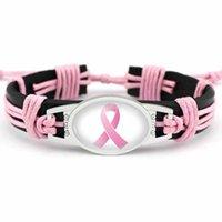Kämpfer Brustkrebs-Bewusstseins-Rosa-Band-Charme-Leder-Armband-gelbes Band Woven-Seil-Armband für Frauen Statement Schmuck Geschenke