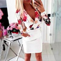 유럽 미국 스타일의 의류 꽃 무늬 가을 섹시한 깊은 V 넥 여성의 허리 긴 소매 드레스 D006