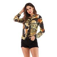 Mulheres Vintage Blusas Top 2020 Primavera-Verão Moda Impresso Chiffon camisas de moda feminina longos da luva do fato das mulheres e Blusas