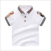 Venta al por menor de verano para bebés, niños, niñas, camisetas de algodón para niños, camiseta de manga corta, niños de alta calidad, cuello vuelto, camiseta a cuadros, ropa para niños