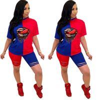 Kadınlar Eşofman Patchwork Renk Delik Dudaklar Tasarımcı Seti Kıyafetler Kısa Kollu T Shirt Şort Yaz Casual Spor Suit 4 Renk D7101