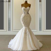 فستان دي نوفيا رشيقة حورية البحر فساتين زفاف الحبيب الرقبة فاخر مطرز أثواب الزفاف مخصص 2020