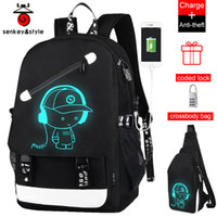 Raged Sheep School Backpack Estudiante Luminoso Animación Usb Charge Changeover Joint High School Bags Adolescente Mochila antirrobo Y19061102