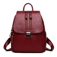 Double Zipper Decoration Vintage Backpack Mochilas Mujer Sch...
