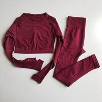 Mujeres sin costura Yoga Conjuntos de cintura alta de gimnasio Mesh Leggings camisas manga larga traje aptitud del entrenamiento deportivo acabando Yoga Establece T200616