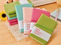 Bonito Colorido Mini Sorriso Caderno De Couro 7.5 * .12.5 CM 192 Folhas de Fio Encadernado 90 g / pc Diário de Moda para Negócios e Estudantes navio Livre