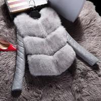 Automne Hiver Femmes Manteau en fausse fourrure Vestes Mode manteau chaud Femme de haut grade Slim survêtement de veste en deux parties Faux costume Gilet