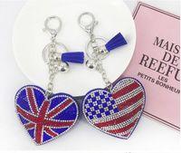 Personalizado novo diamante lã coreana bandeira americana pêssego coração keychain favores pingente ms. bolsa acessórios de carro
