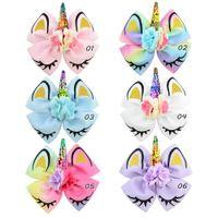 Princesa Unicorn Headband Lantejoulas arco com chiffon flores e pérola titular de rabo de cavalo Jojo Siwa Cheerleading Hair Clip For para meninas 60pcs