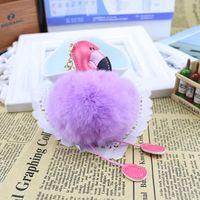 Coelho bonito Fluffy Pompom Flamingo Keychain Mulheres Faux Fur Cadeia Bola Pompon chave do carro Bag Pom Pom Key Rey Anel Titular Partido RRA2829-3 Favor
