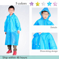 سريع الشحن الأزياء PE الأطفال معطف واق من المطر ماء المطر معطف أطفال واضحة جولة شفافة ملابس ضد المطر ماء دعوى للأطفال