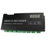 Freeshipping 24-kanal RGB DMX 512 Avkodare med digital display 72A Dimmer PWM-drivrutin RGB Strip Controller DMX med RJ45-ingång DC5V-24V