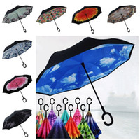 Mode kreativ Inverted Folding Umbrella umge Double Layer Inverted Winddichtes Regen Auto Regenschirme mit C Griff UmbrellasT2I5720