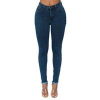 2018 Herbst Winter Frauen Marke Dünne Denim Bleistift Hosen Hohe Taille Dünne Knopf Taschen Hosen Stretch Jeans Frauen Jeans # 35