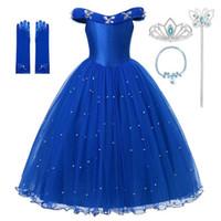 Prinzessin Cinderella blaue Dress Up Kleidung Mädchen weg von der Schulter-Festzug-Ballkleid Kinder Deluxe Fluffy Bead Halloween-Partei-Kostüm Eines Shipping1