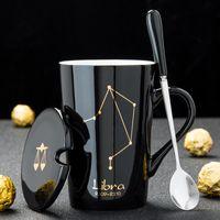 12 constelações caneca de café de cerâmica com tampa de colher preto e ouro porcelana Zodiac copo de cerâmica 420 ML de água em casa Drinkware