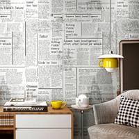 Белая Старого английского Письмо Газета Урожай обои Настенной рулонная бумага для Бара-кафе Coffee Shop Ресторана