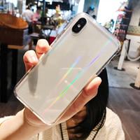 Rainbow Laser Case für iPhone 11 PRO MAX X XR XS 7 8 Plus Luxus-bunte transparente harte Acryl-Telefonabdeckung Freies Verschiffen