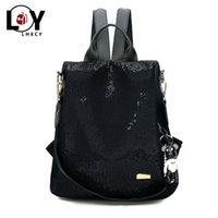 Simple Sequins Oxford Solid Color Anti- theft Backpack High Q...