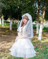 لوليتا زهرة الزفاف الحجاب متعدد الطبقات لوليتا غطاء الرأس ins الرياح سوبر الجنية القوطية الرجعية المعطف الصوف هيبورن