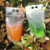 زجاجات المياه الشراب البلاستيك الحقائب أكياس مع القش سستة غير سامة غير سامة المتاح حاوية الشرب حفلات المائدة KDJK2006