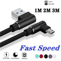 1m 3ft 2A Quick charging Braided Fabric Alloy 90 Degree Usb ...