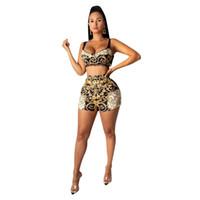 Le donne sexy senza maniche con stampa Bassiera + Shorts negozio di abbigliamento Set Pizzo Beach Estate insieme delle 2 parti Club Outfits ROUPAS Femininas
