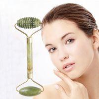Facciale di massaggio di bellezza strumento naturale doppia testa Jade Roller Face-lift per massaggi di rilassamento Strumenti Anti rughe Health Care