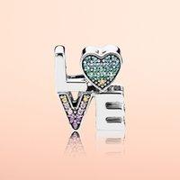 أصيلة 925 فضة اللون كريستال الحب رسائل سحر المربع الأصلي ل باندورا الخرز سحر سوار صنع المجوهرات