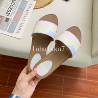 2020 Novo Designer Marca Sandálias Moda Sandálias Femininas Mulheres com Caixa De Luxo Flor Impresso Tie-Dye Unisex Beach Flip Flops Slipper Big Siz