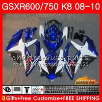 Bodys Für SUZUKI GSXR 600 750 GSX R750 R600 GSXR600 blau weiß neu 08 09 10 9HC.60 GSX-R750 GSXR-600 K8 GSXR750 2008 2009 Verkleidungssatz