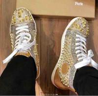 Gold Skotd Hommes Haut Haut Haut Haute Casual Sneakers Soupes Rouges Semes Rivets Flats, Junior Men's Femmes Junior Orlato Fashion Robetage de skateboard
