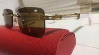 Hölzerne Buffalo Horn Brillen Optischer Rahmen Randlose Sonnenbrille Verspiegelter quadratischer Eyewear Outlet Occhiali Da Sole Klarglas Sonnenbrille