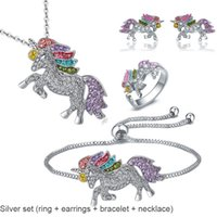 2019 Fashion Silver Unicorn Set (Ring + Earrings + Bracelet ...