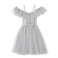 2019 여자를위한 여름 그레이 드레스 라인 스톤 스팽글 거즈 어깨 공주 파티 드레스 어린이 의류 2-6T E8605