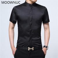 Мужские повседневные рубашки умные летние моды с короткими рукавами стенд воротник мужские мужчины Moowuc высокое качество MWC Slim Fit тонкий разрез