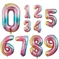 Globo de aire de helio de 32 pulgadas Número de gradiente Globos de película de papel de aluminio Baby Shower Celebración Globo Fiesta de cumpleaños Decoración VT1680