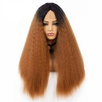 28inch Long Afro Kinky Curly Lace Front Wigs For Women Synth...