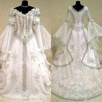 중세 웨딩 어깨 긴 소매 웨딩 드레스 신부 드레스 460 드레스 마녀 셀틱 튜더 르네상스 의상 빅토리아 고딕 끄기