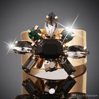 Wedding Anelli sposa esagerato apertura di cristallo l'oro giallo 18K ha riempito l'anello Gemstone Rings