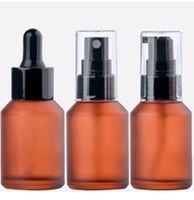 30 ml con gotero botella de spray Emulsión de bomba de presión de aceite esencial de aromaterapia Hidratación de la Piel Cuidado de la cosmética Luz Prueba vidrio esmerilado portátil