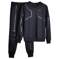 Модные мужские наборы 2020 Sportswear O-Ceep Cousssuit Новый дизайн Толстовка Joggers Брюки набор вскользь 2 шт. Мужчины лоскутное капюшон