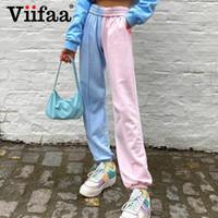 Viifaa синий и розовый два тона эластичный пояс Sweatpants Мода Брюки Женщины Уличная весна Повседневный Брюки