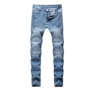 Einzigartige Men Plissee Stretch Light Blue Jeans Slim Fit Designer Straight Leg verkleideten Biker Jeanshosen Street QKN1690