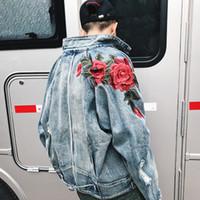 Jeans Coat Spring Rose bordado Agujeros rotos y Retro Denim jacket y abrigos Casual Bomber Jacket